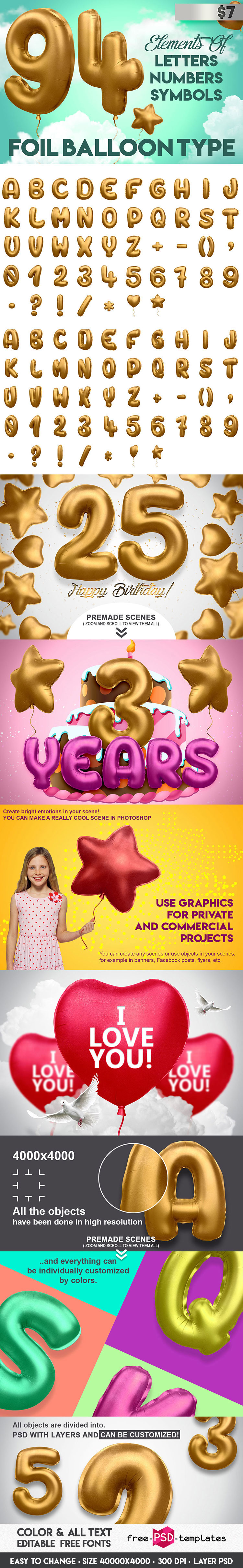 3D Alphabet Foil Balloon in PSD | Free PSD Templates