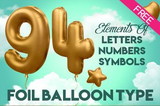 3D Alphabet Foil Balloon in PSD (Letters, Symbols, Numbers)