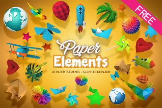30 FREE Isolated 3d paper objects – Scene Genetator