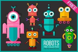 Robots Free Vector Illustration Set