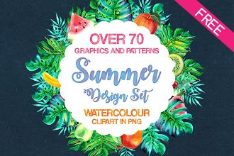 Watercolor Summer Design Set IN PSD (70 .png)
