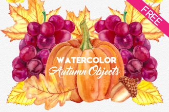 FREE Watercolor Autumn Objects