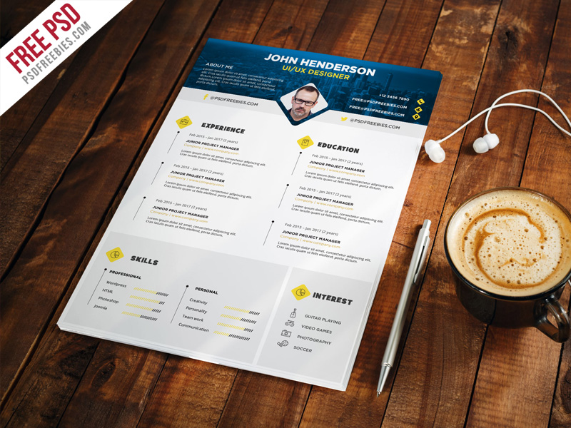 35 free psd cv resumes for creative people to get the best job download free professional designer resume cv template psd this minimal resume cv template will help you to create your cvresume more corporate and yelopaper Gallery