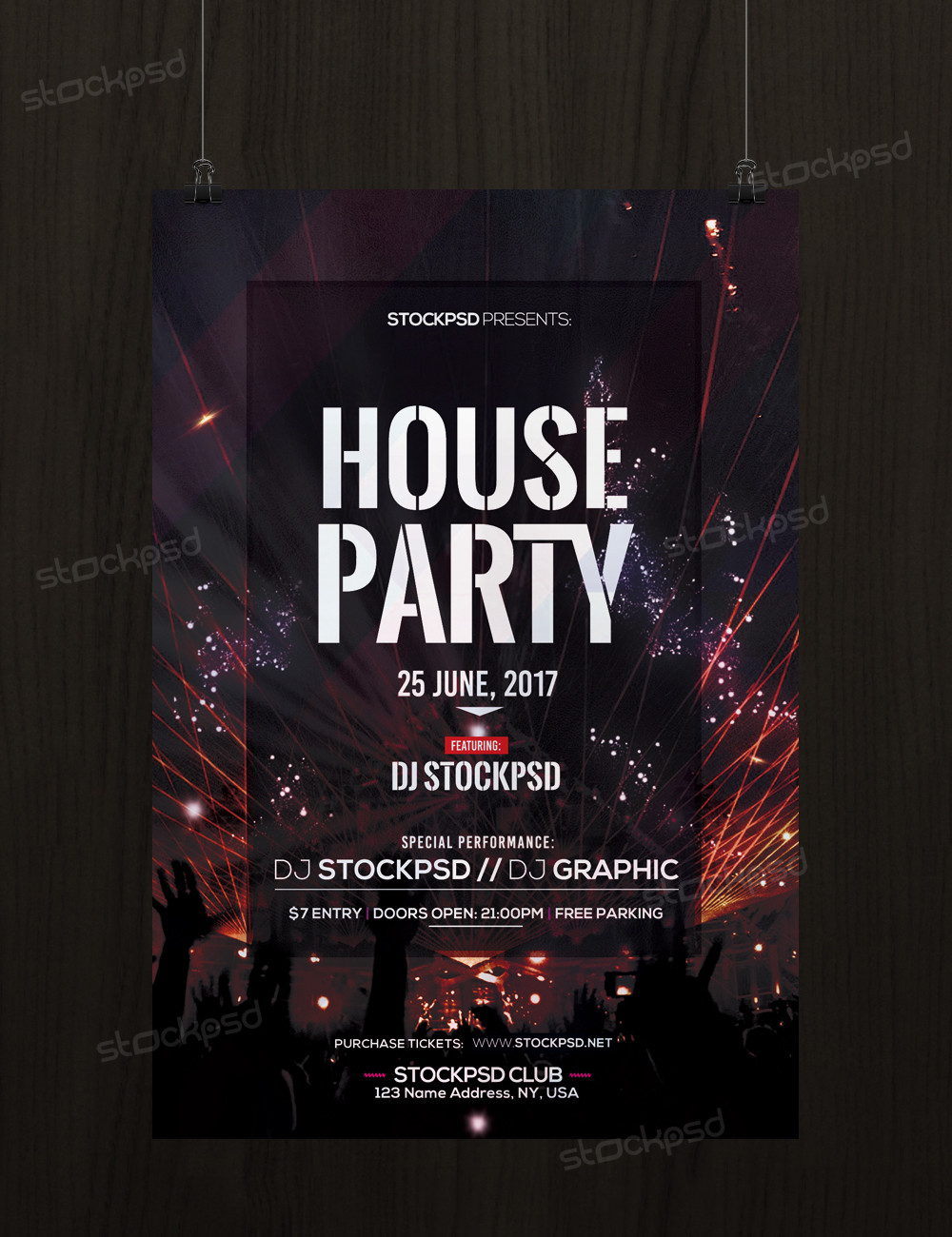 house party download free psd party flyer template - Free Psd Flyer Templates