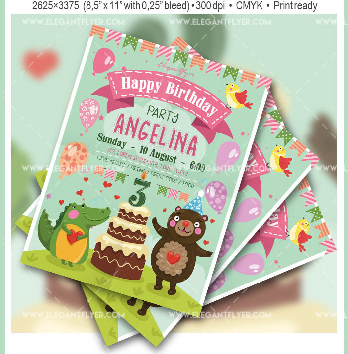 Happy Birthday Party Flyer PSD Template Facebook Cover