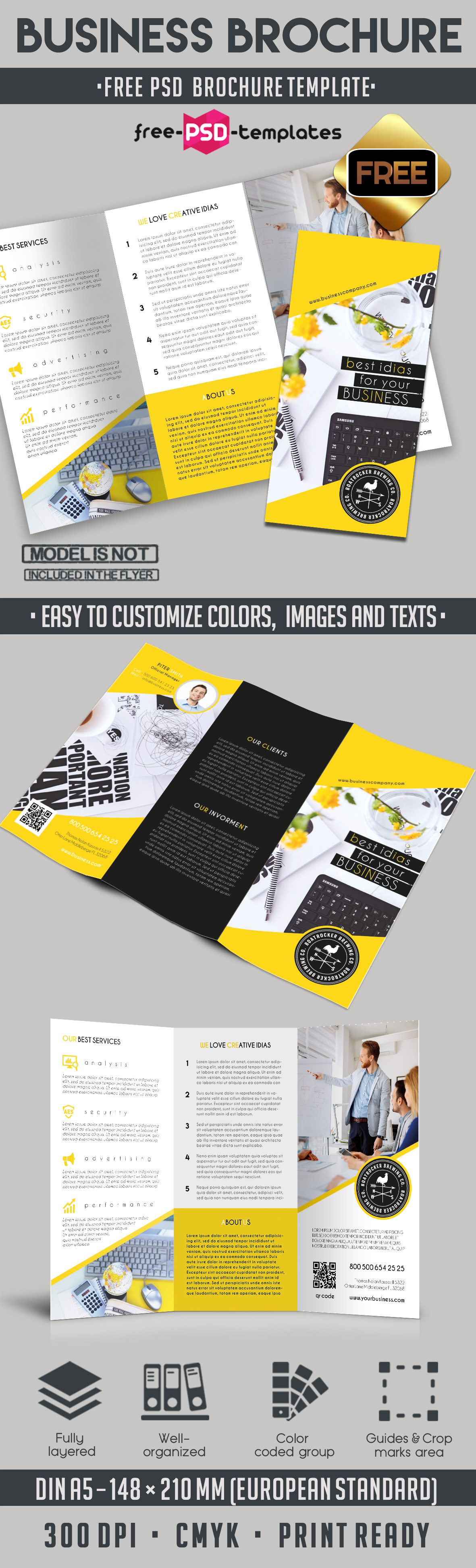 Free business tri fold brochure psd template free psd for Free business brochures templates