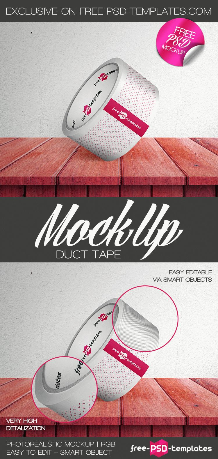 Free Duct Tape Mockup In Psd  Free Psd Templates