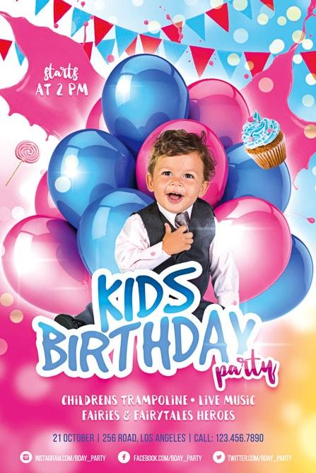 FREE BIRTHDAY INVITE TEMPLATES IN PSD Premium Invites Free - Birthday party flyer templates free