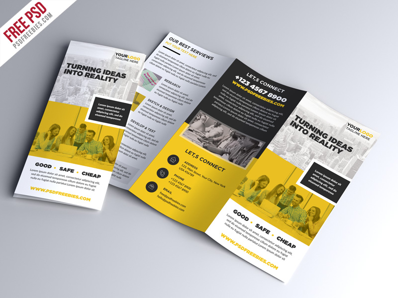70 premium free business brochure templates psd to for 2 fold brochure template psd