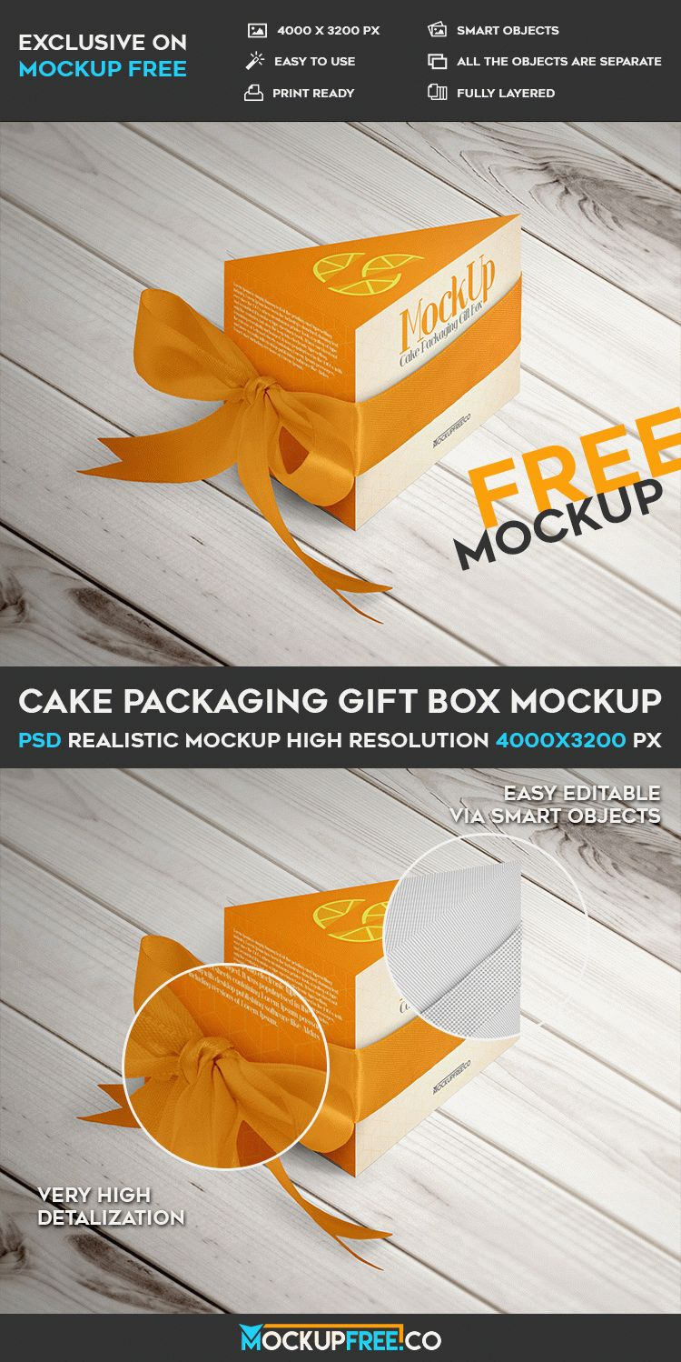 Cake Packaging Gift Box Free Psd Mockup Free Psd Templates