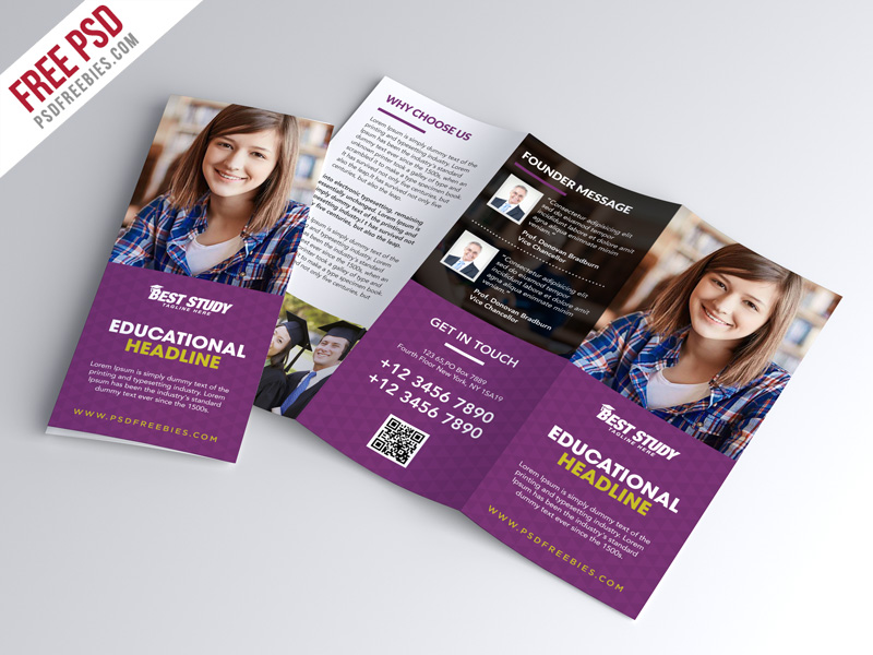 university college trifold brochure psd template free