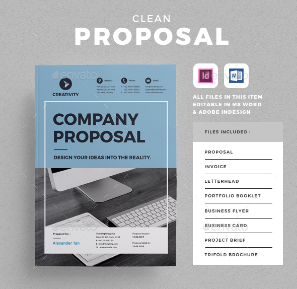 clean professional proposal template this layout is suitable for any project purpose very easy to use and customise