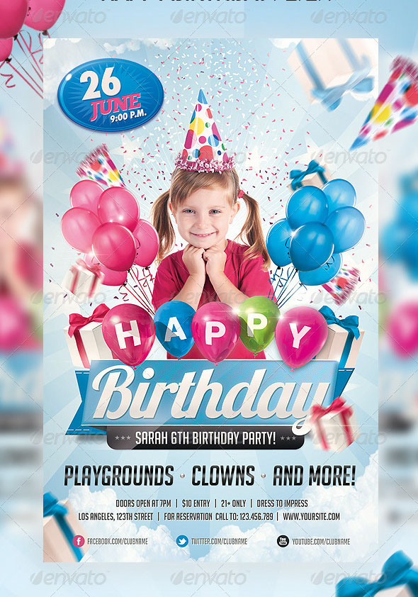 65 free birthday invite templates in psd premium invites free kids birthday invitation party flyer stopboris Gallery