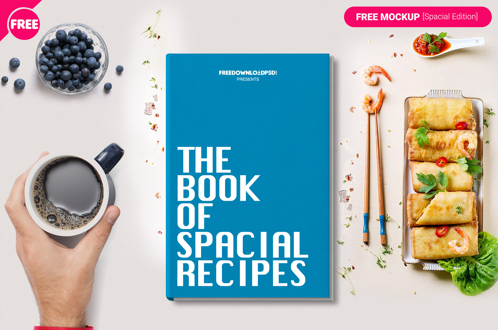 Food Book Cover Up ~ Free psd magazine catalog mockups for business and