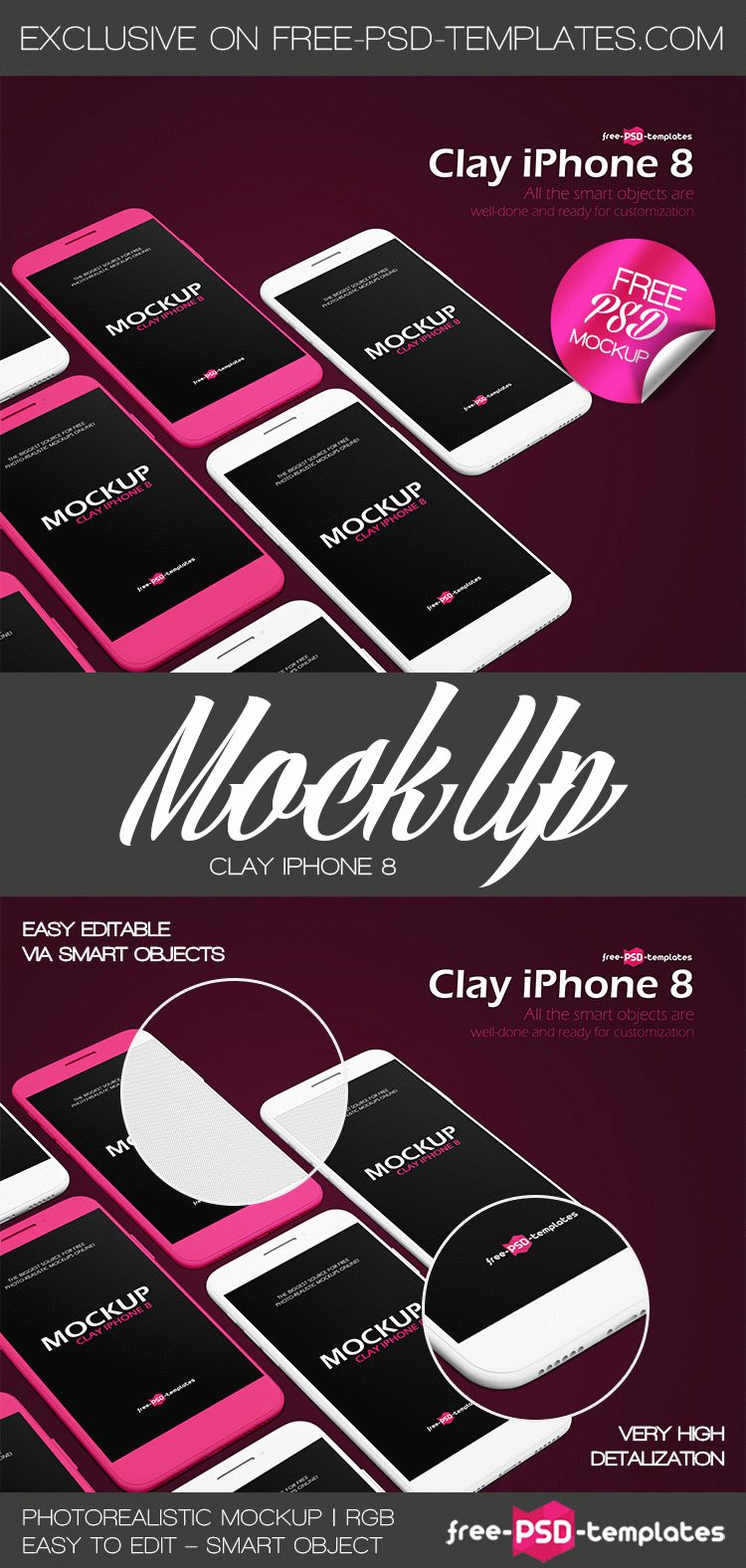 Free Clay iPhone 8 Mockup