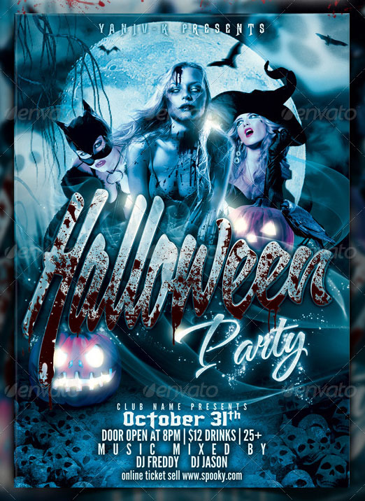 45+PREMIUM & FREE SCARY AND HORROR PSD HALLOWEEN PARTY FLYER