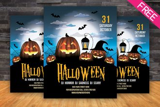 Free Halloween Party – Flyer Vector Template