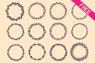 Free Hand Drawn Wreaths IN PSD