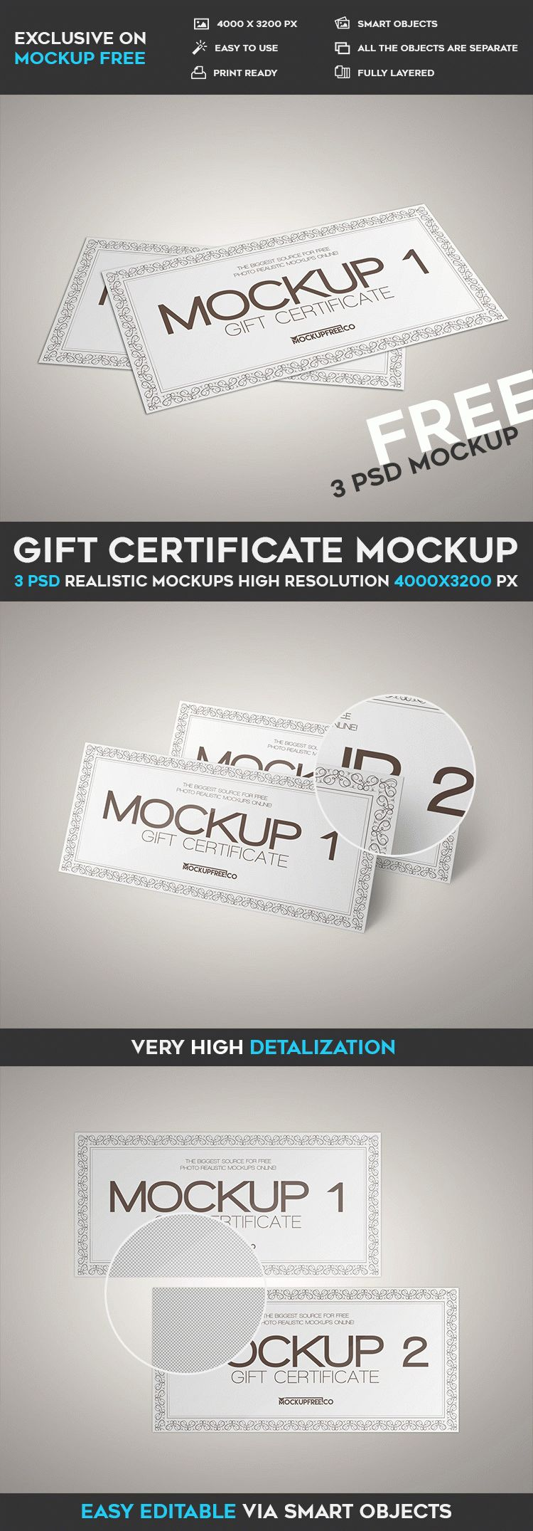 Gift Certificate – 3 Free PSD Mockups   Free PSD Templates