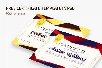 Free Certificate Template IN PSD