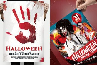 30 Free Scary and Horror PSD Halloween Party flyer templates!