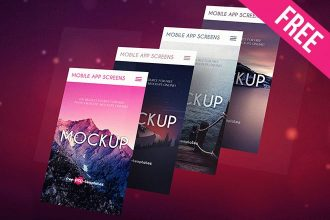3 Free Mobile App Screens Mock-ups in PSD