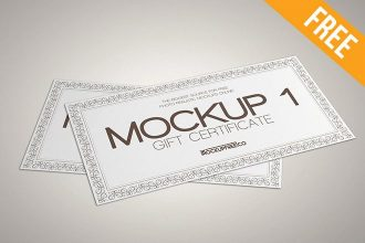 3 Free Gift Certificate Mockups (PSD)