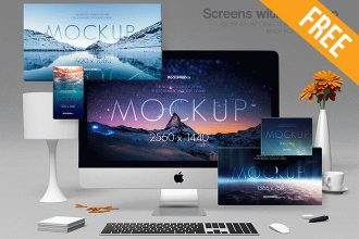 Screens with iMac Pro – 2 Free PSD Mockups