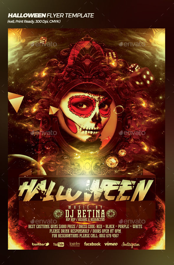 45premium Free Scary And Horror Psd Halloween Party Flyer