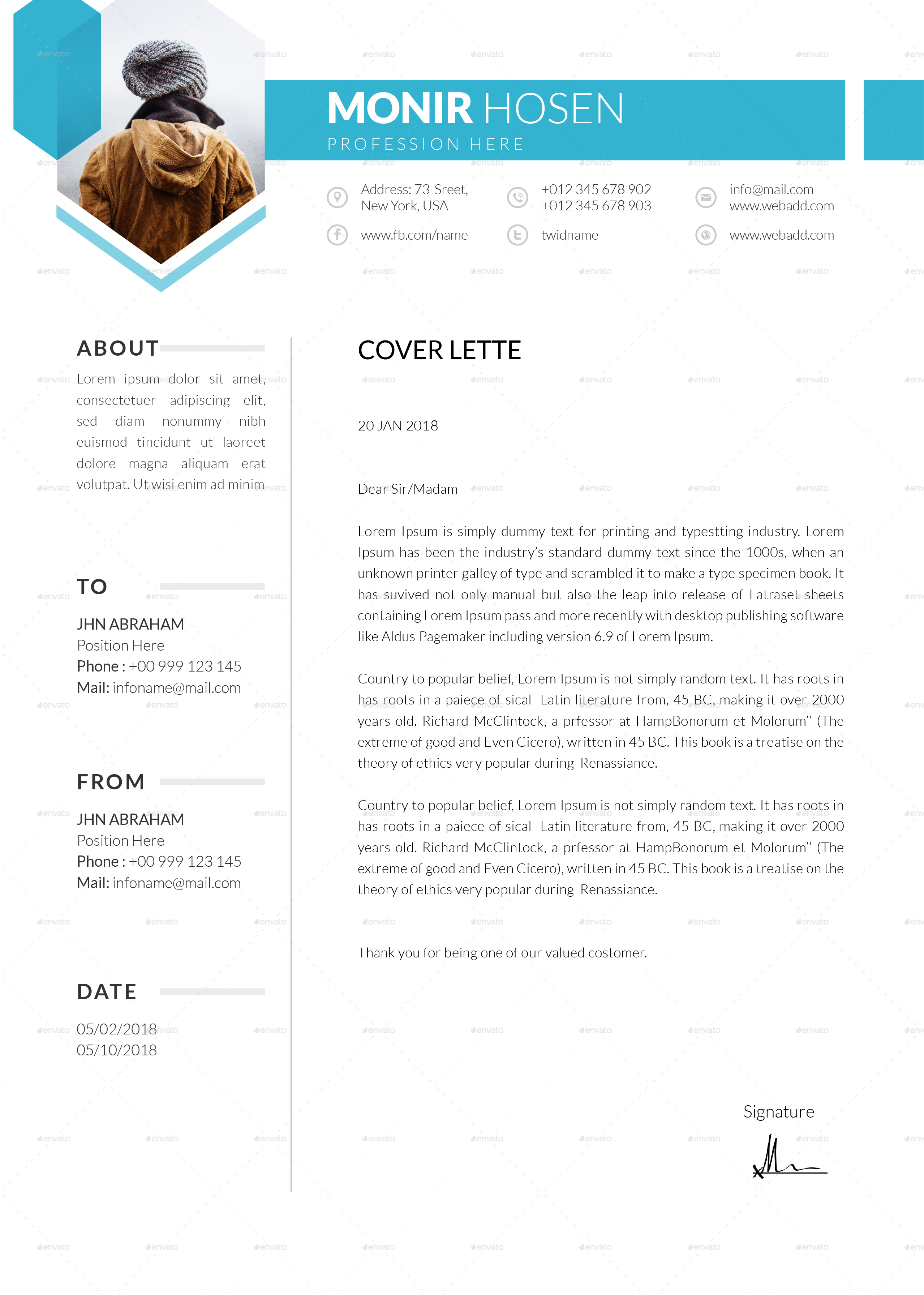 74+ FREE PSD CV/ RESUME TEMPLATES + COVER LETTERS TO ...