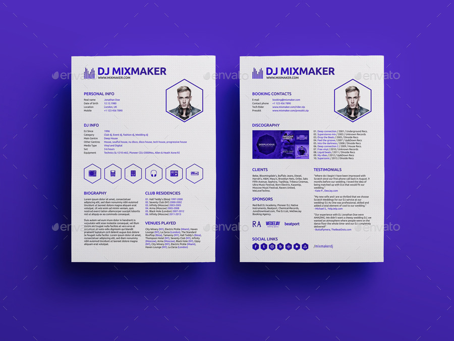 30 Free PSD CV/ Resume Templates + Cover Letters To Download .  Dj Resume