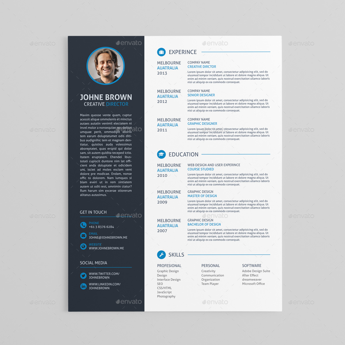 Free Psd Cv Resume Templates  Cover Letters To Download  Free