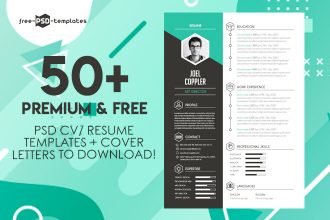 50+PREMIUM & FREE PSD CV/ RESUME TEMPLATES + COVER LETTERS TO DOWNLOAD!