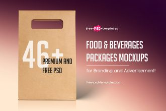 46+Premium and Free PSD Food & Beverages Packages Mockups for Branding and Advertisement!