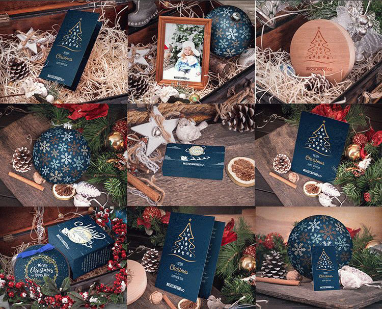 30 free christmas new year mockups in psd for happy holidays business card tri fold and bi fold brochure greeting card and many other things can be yours choose this psd mockup and enjoy easy work reheart Image collections