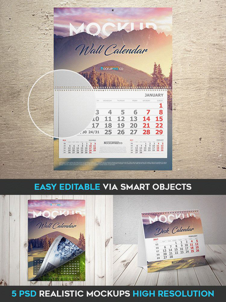 40premium And Free Psd Calendar Templates Mockups To Create The