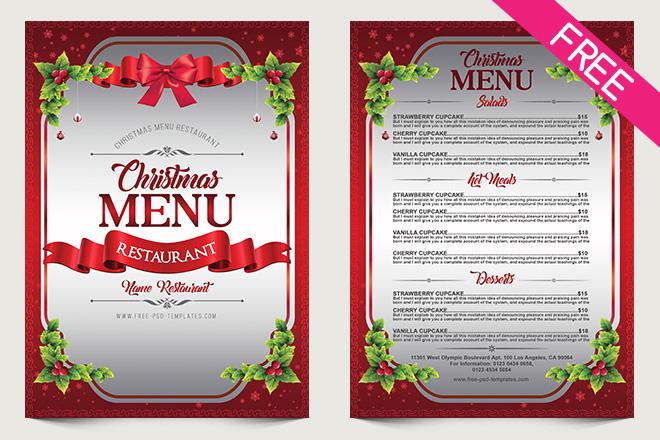 Free Christmas Menu Template Urgup Kapook Co