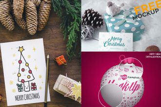30+ Free Christmas & New Year Mockups in PSD for happy holidays design!