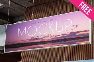 Free Indoor Banner Mock-up in PSD