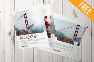Square Trifold Brochure – 2 Free PSD Mockups