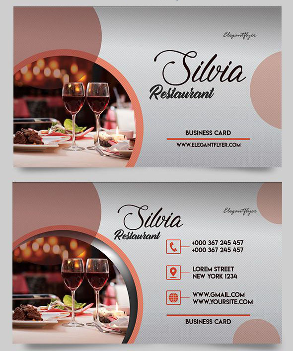 30 free psd business cards templates for powerful business free restaurant free business card psd template reheart Gallery