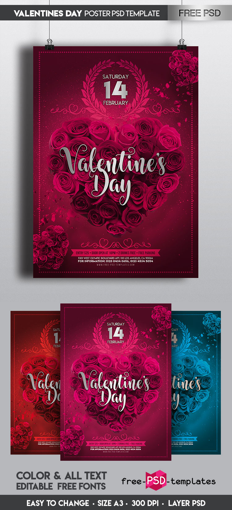 Free Psd Flyer Template: Free Valentine's Day Poster IN PSD
