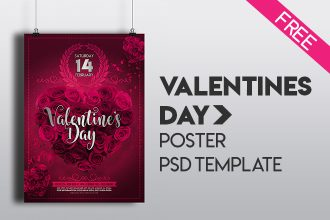 Free Valentine's Day Poster Template (PSD)