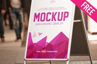 Free Sign Board Display Mock-up in PSD