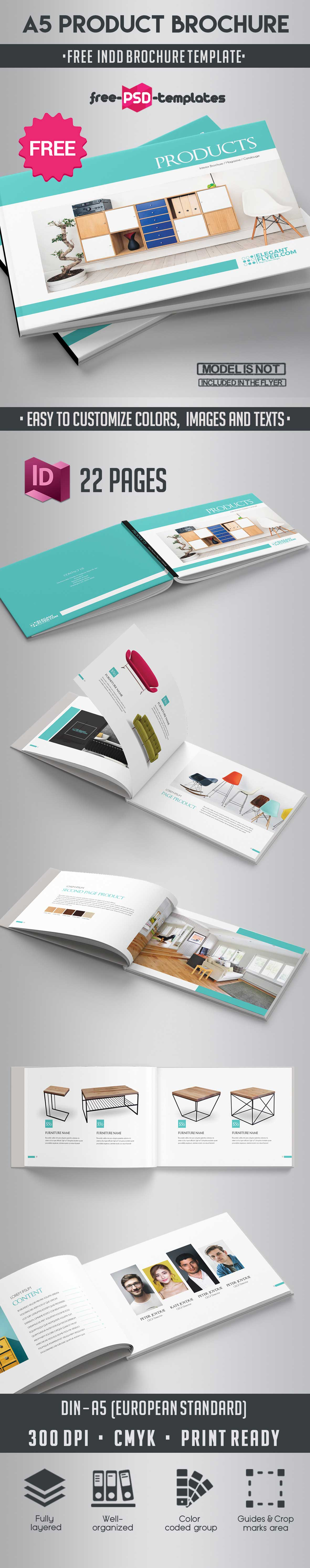 Free A5 Product Catalog Brochure Indd Template | Free PSD Templates