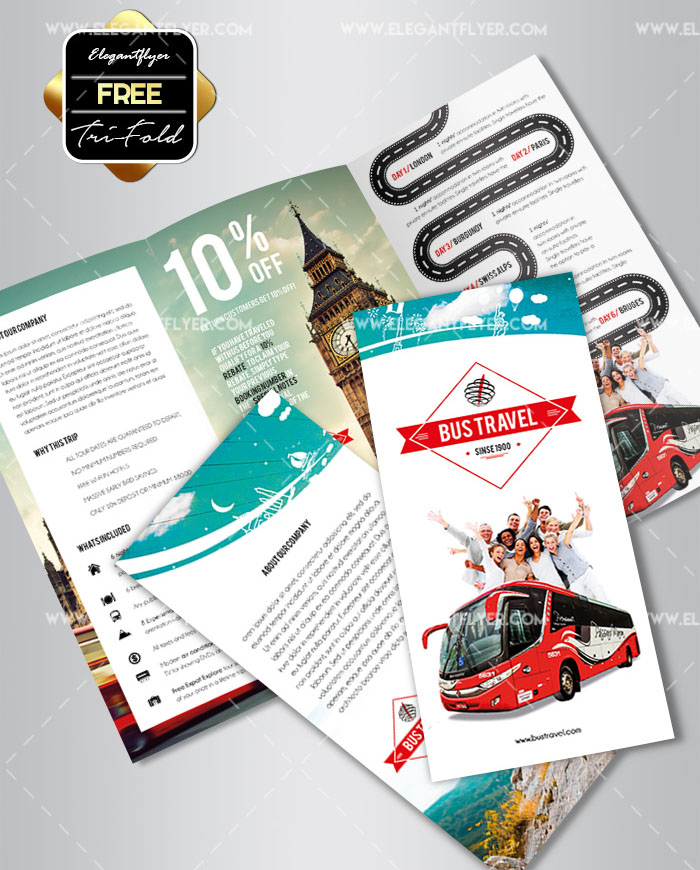 Printable Travel Brochure Template For Kids: 45+PREMIUM & REE PSD PROFESSIONAL BI-FOLD AND TRI-FOLD