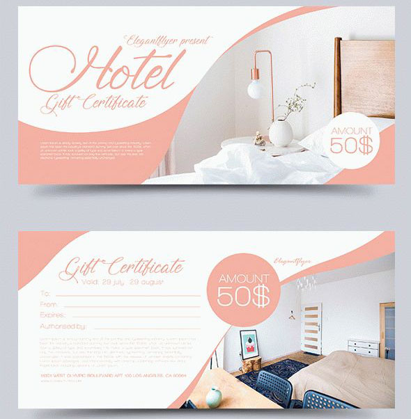 hotel free psd template gift certificate - Gift Certificate Template Photoshop