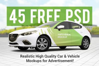 45 Free PSD Realistic High Quality Car & Vehicle Mockups for advertisement!