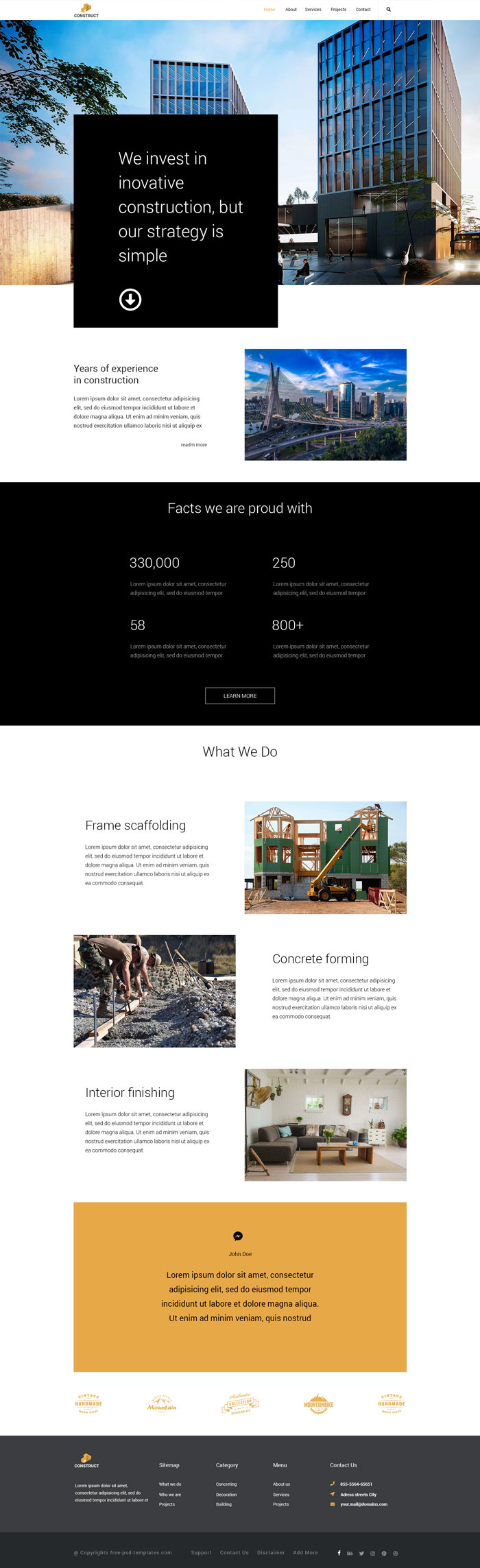 Free templates psd construction free psd templates for Home building websites