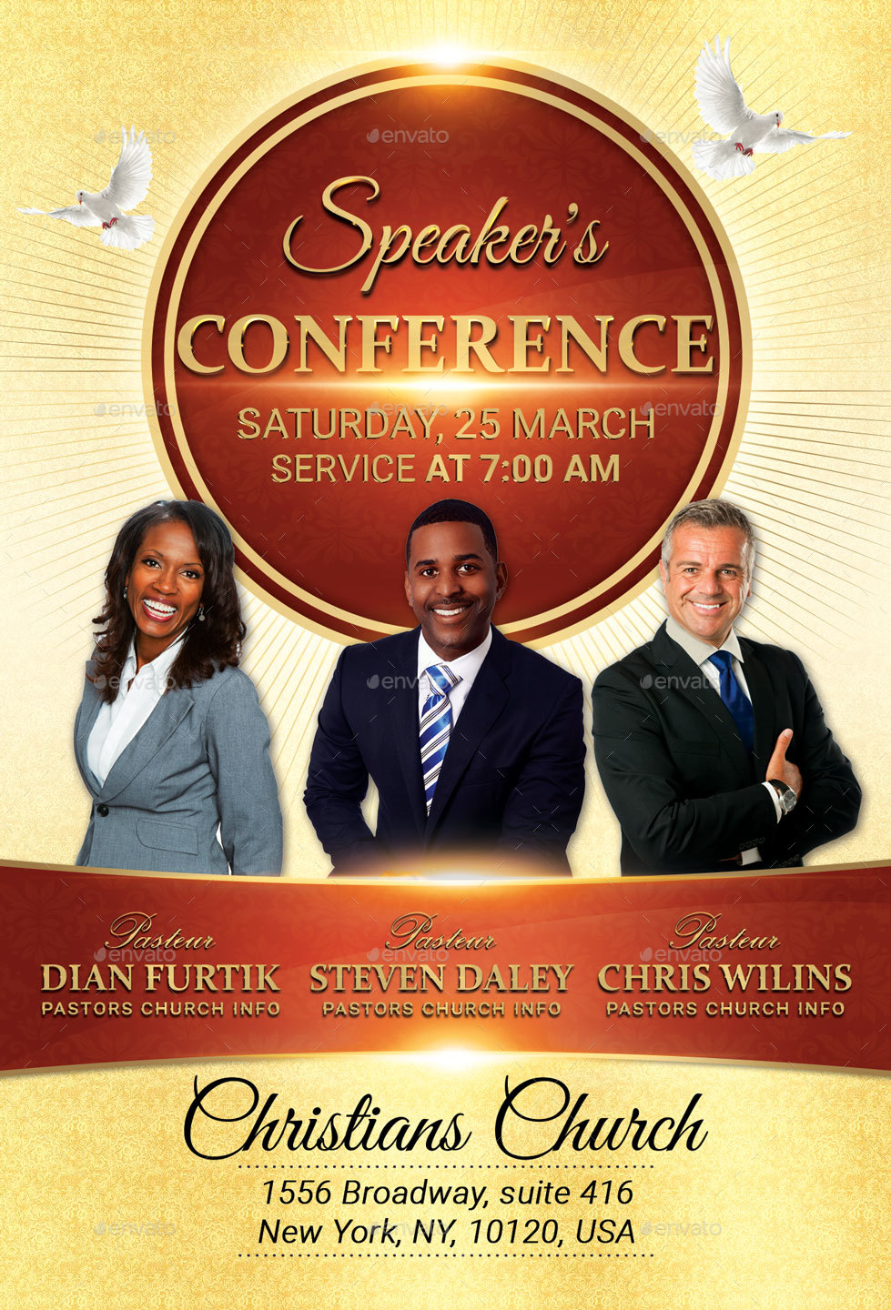 speakers conference church flyer 100 fully layered psd